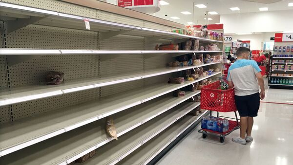Shoppers find empty bread shelves at a store ahead of the arrival of Hurricane Dorian in Kissimmee - Sputnik International