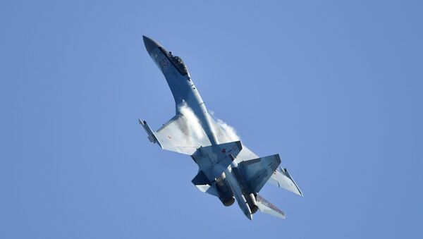 Russia's multipurpose Su-35 jet performs at the MAKS-2019 international aviation and space show in Zhukovsky outside Moscow. - Sputnik International