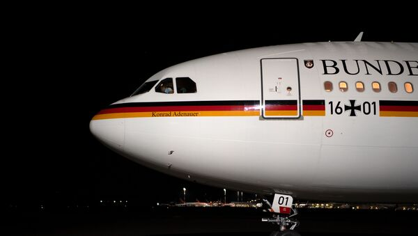 The Konrad Adenauer Airbus A340 plane of the German government stands on the tarmac of Tegel airport in Berlin on April 1, 2019 before taking off with the German Foreign Minister onboard - Sputnik International