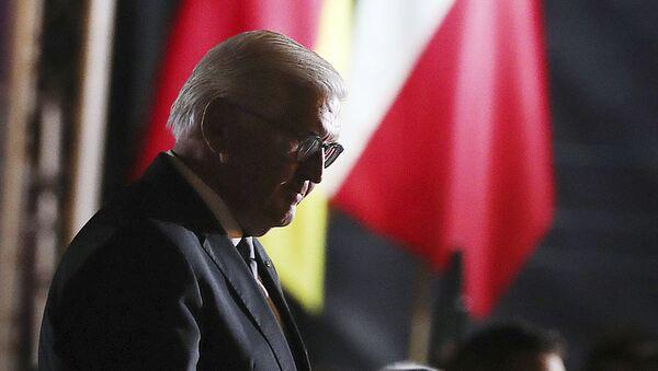 Germany's President Frank-Walter Steinmeier walks after speaks at the commemoration ceremony marking the 80th anniversary of World War II in Wielun, Poland, Sunday, Sept. 1, 2019. - Sputnik International