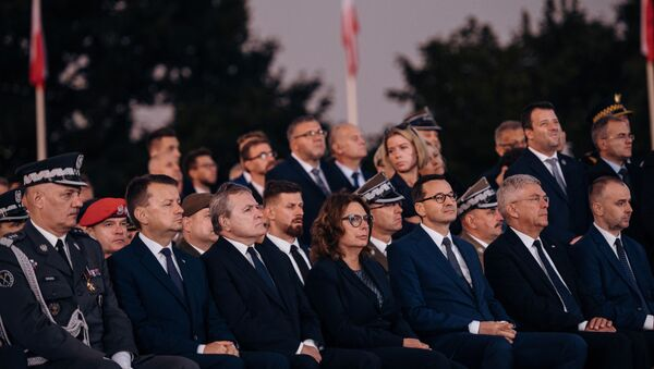 Officials attend a commemorative ceremony to mark the 80th anniversary of the outbreak of World War Two at Westerplatte Memorial in Gdansk, Poland September 1, 2019.  - Sputnik International