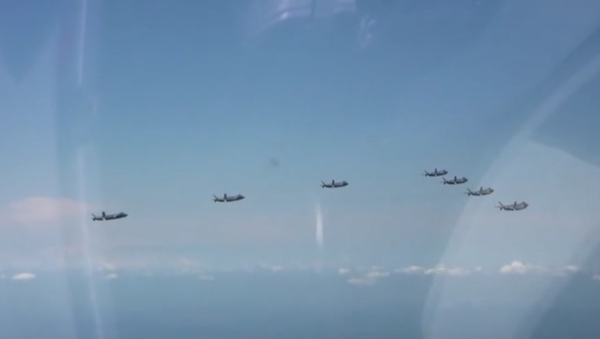 Seven Chengdu J-20 stealth aircraft are seen flying in formation in a PLAAF promotional video - Sputnik International