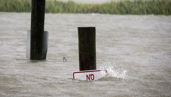 A sign at the Lazaretto Creek boat ramp as is nearly underwater at high tide as Hurricane Dorian makes its way up the east coast, Wednesday, Sept. 4, 2019, toward Tybee Island, Ga. Dorian is forecast to bring storm surge and tropical storm force winds the barrier island. (AP Photo/Stephen B. Morton) - Sputnik International