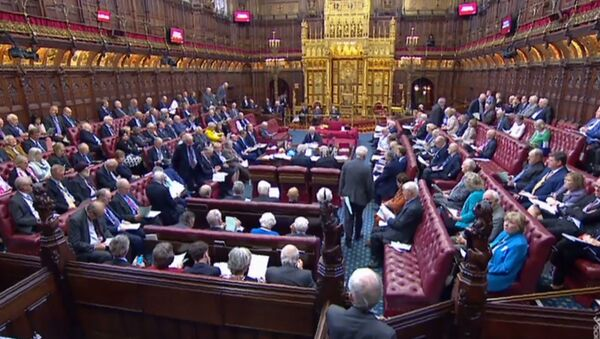 A video grab from footage broadcast by the UK Parliament's Parliamentary Recording Unit (PRU) shows members the House of Lords gathering together to discuss the European Union Withdrawal (No. 6) bill, as proposed by Conservative MP Oliver Letwin, in London on September 6, 2019 - Sputnik International