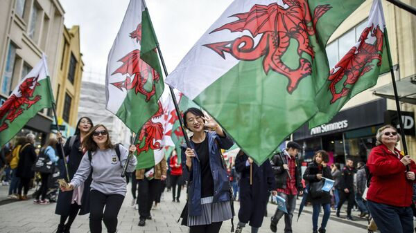 People wave Welsh flags, during a St David's Day Parade in Cardiff, Wales, Friday March 1, 2019 - Sputnik International