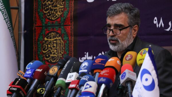 A handout picture released by Iran's Atomic Energy Organization on September 7, 2019, shows spokesman for the organization Behrouz Kamalvandi speaking during a press conference in the capital Tehran. - Sputnik International