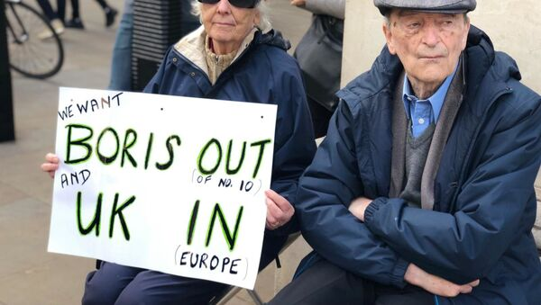 Protests in London against PM Boris Johnson  - Sputnik International