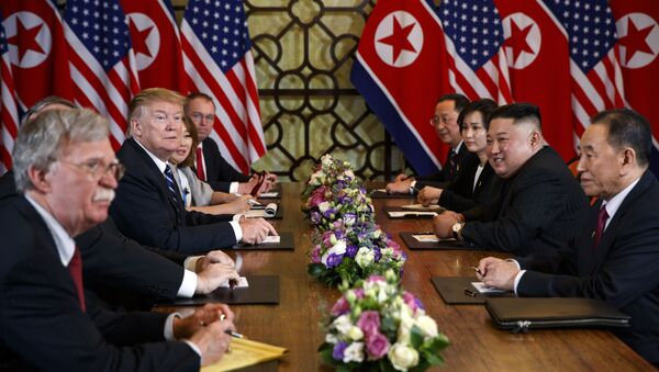 President Donald Trump speaks during a meeting with North Korean leader Kim Jong Un Thursday, Feb. 28, 2019, in Hanoi.  - Sputnik International