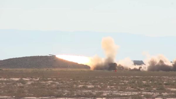 An M270A1 Multiple Launch Rocket System (MLRS) test fire at White Sands Missile Range, New Mexico - Sputnik International