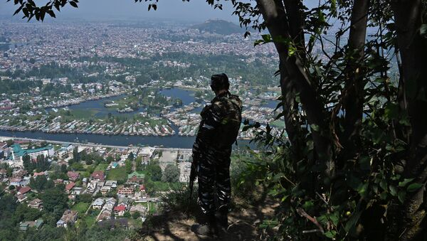 An Indian paramilitary trooper patrols at the top of a hill in Srinagar on August 25, 2019 - Sputnik International