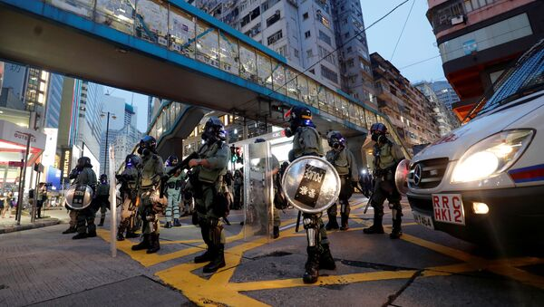 Riot police are seen near Causeway Bay MTR station during protests in Hong Kong - Sputnik International