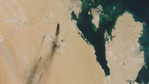On 14 September 2019, a satellite image provided by NASA Worldview shows fires following a drone attack on two major oil installations in eastern Saudi Arabia; Yemen's Houthi rebels have claimed responsibility. - Sputnik International