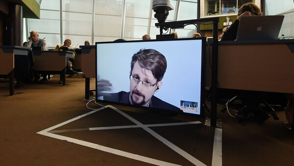 Former US National Security Agency (NSA) contractor and whistle blower Edward Snowden speaks via video link from Russia as he takes part in a round table meeting on the subject of Improving the protection of whistleblowers on March 15, 2019, at the Council of Europe in Strasbourg, eastern France - Sputnik International