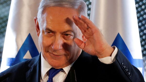 Israeli Prime Minister Benjamin Netanyahu gestures as he speaks during a state memorial ceremony at the Tomb of the Patriarchs, a shrine holy to Jews and Muslims, in Hebron in the Israeli-occupied West Bank September 4, 2019 - Sputnik International
