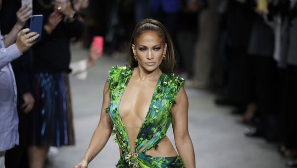 Actress Jennifer Lopez wears a creation as part of the Versace Spring-Summer 2020 collection, unveiled during the fashion week, in Milan, Italy, Friday, Sept. 20, 2019 - Sputnik International