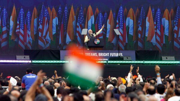 Indian Prime Minister Narendra Modi speaks during the Howdy, Modi rally at NRG Stadium in Houston, 22 September 2019. - Sputnik International
