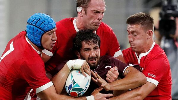 Rugby Union - Rugby World Cup 2019 - Pool D - Wales v Georgia - City of Toyota Stadium, Toyota, Japan - September 23, 2019  Georgia's Giorgi Kveseladze in action with Wales' Justin Tipuric, Alun Wyn Jones and Hadleigh Parkes   - Sputnik International