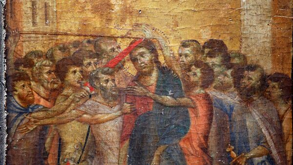 A part of the painting Christ Mocked, a long-lost masterpiece by Florentine Renaissance artist Cimabue in the late 13th century, which was found months ago hanging in an elderly woman's kitchen in the town of Compiegne, is seen in Paris, France, September 24, 2019.    REUTERS/Charles Platiau - Sputnik International