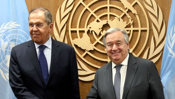 The 74th Assembly General. Russian Foreign Minister Sergey Lavrov meets with Secretary General of the UN António Guterres. - Sputnik International