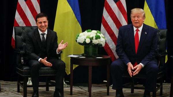 U.S. President Donald Trump listens during a bilateral meeting with with Ukraine's President Volodymyr Zelensky on the sidelines of the 74th session of the United Nations General Assembly (UNGA) in New York City, New York, U.S., September 25, 2019 - Sputnik International