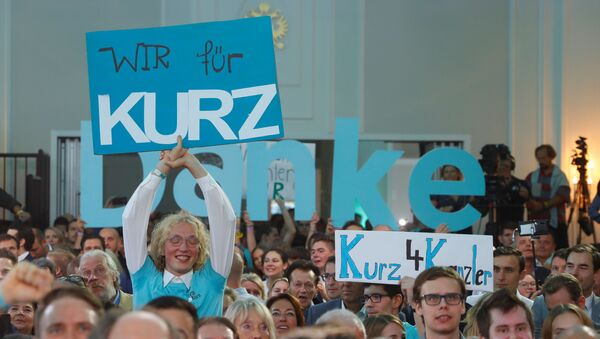 Supporters of Austrian Peoples Party (OeVP) Sebastian Kurz react after the close of the polling stations in Vienna, Austria September 29, 2019. - Sputnik International