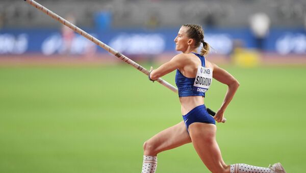 Anzhelika Sidorova cleared every height up to 4.9 meters in her first attempts, while her final leap beat competitors as she soared over the bar at just over 4.95 meters - Sputnik International