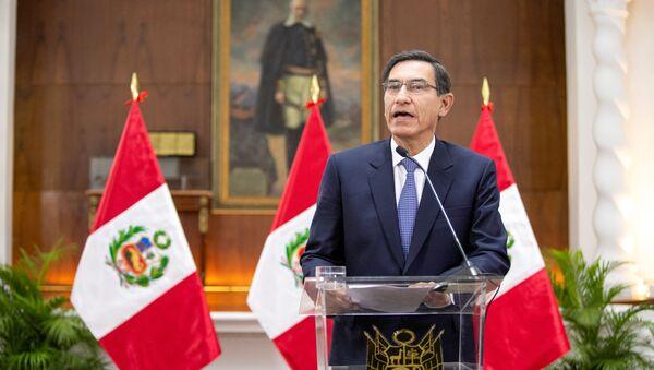 Peru's President Martin Vizcarra addresses the nation, at the government palace in Lima, Peru September 27, 2019.  - Sputnik International