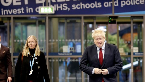 Boris Johnson at the Conservative Party conference in Manchester - Sputnik International