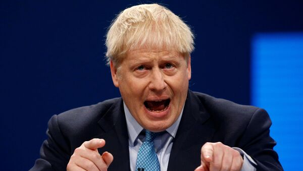 Britain's Prime Minister Boris Johnson gives a closing speech at the Conservative Party annual conference in Manchester, UK, 2 October 2019. - Sputnik International