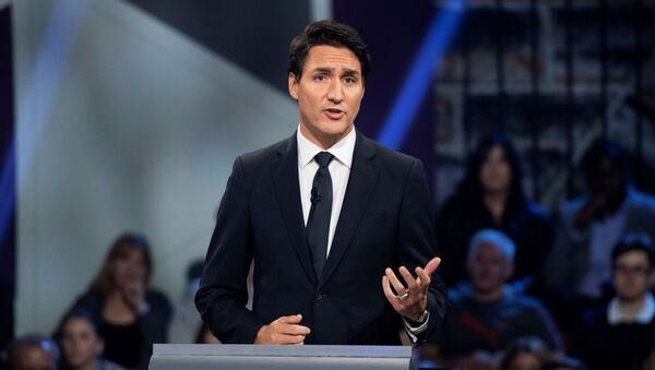 Liberal leader Justin Trudeau responds to a question during the Federal leaders debate in Gatineau, Quebec, Canada October 7, 2019 - Sputnik International