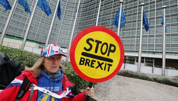 A woman holds a sign as she attends a protest against Brexit outside the EU Commission headquarters in Brussels, Belgium October 9, 2019. - Sputnik International