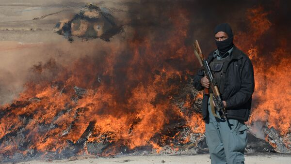 This photo taken on December 19, 2012 shows an Afghan policeman standing guard as a pile of narcotics is burned by officials on the outskirts of Jalalabad Nangarhar province - Sputnik International