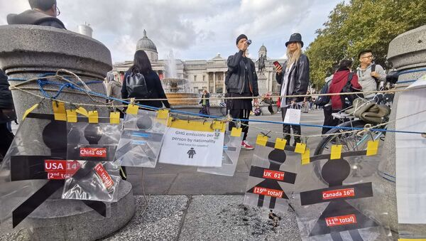 A display of the world's largest polluters can be seen at the XR camp at Trafalgar Square in London, UK - Sputnik International