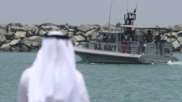 A U.S. Navy patrol boat carrying journalists to see damaged oil tankers leaves a U.S. Navy 5th Fleet base near Fujairah, United Arab Emirates, Wednesday, June 19, 2019 - Sputnik International