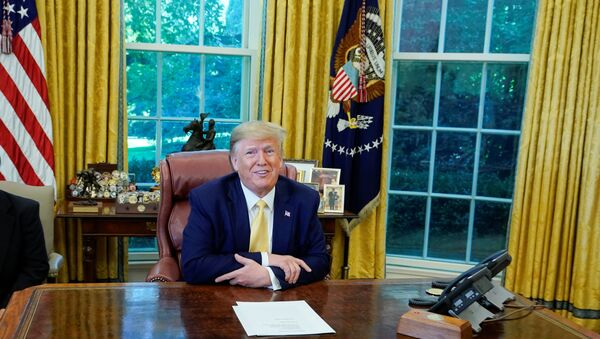 U.S. President Donald Trump speaks during a meeting with China's Vice Premier Liu He in the Oval Office at the White House after two days of trade negotiations in Washington, U.S., October 11, 2019.  - Sputnik International