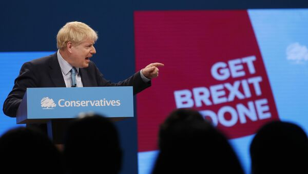 Britain's Prime Minister Boris Johnson delivers his Leader's speech at the Conservative Party Conference - Sputnik International