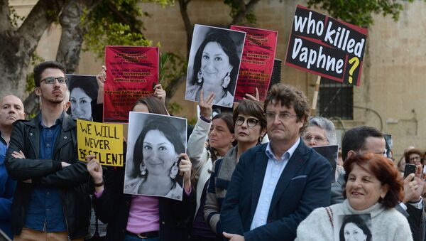 Protesters demanding justice for Daphne Caruana Galizia - Sputnik International