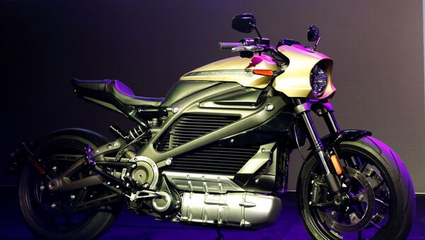 In this Jan. 7, 2019, file photo a Harley-Davidson Motorcycles LiveWire electric motorcycle is on display during a Panasonic news conference at CES International in Las Vegas. Harley-Davidson says it has stopped production and deliveries of its LiveWire electric motorcycle while it tries to figure out a problem that surfaced during a final quality check.  - Sputnik International