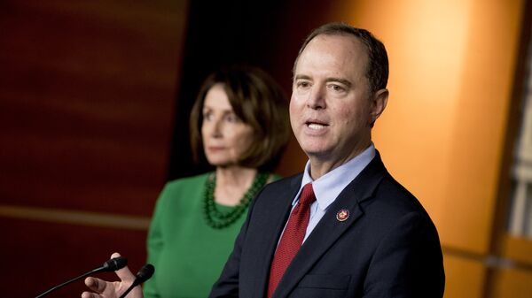 Rep. Adam Schiff, D-Calif., Chairman of the House Intelligence Committee, right, accompanied by House Speaker Nancy Pelosi of Calif., left, speaks about the House impeachment inquiry into President Donald Trump at a news conference on Capitol Hill in Washington - Sputnik International