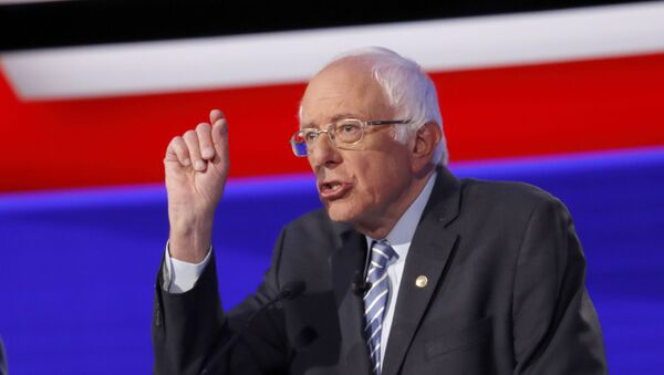 Democratic presidential candidate Sen. Bernie Sanders, I-Vt., participates in a Democratic presidential primary debate hosted by CNN/New York Times at Otterbein University, Tuesday, Oct. 15, 2019, in Westerville, Ohio. - Sputnik International