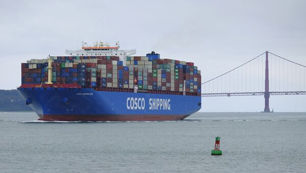 A Cosco Shipping container ship passes the Golden Gate Bridge Tuesday, May 14, 2019, in San Francisco bound for the Port of Oakland - Sputnik International