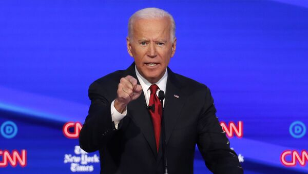 Democratic presidential candidate former Vice President Joe Biden speaks during a Democratic presidential primary debate hosted by CNN/New York Times at Otterbein University, Tuesday, Oct. 15, 2019, in Westerville, Ohio. - Sputnik International
