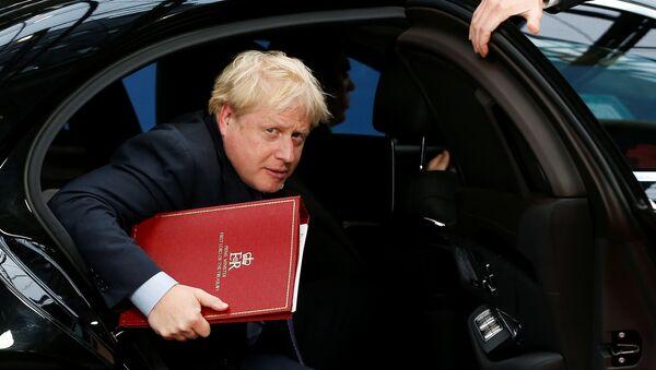Britain's Prime Minister Boris Johnson arrives at the European Union leaders summit, in Brussels, Belgium October 17, 2019 - Sputnik International
