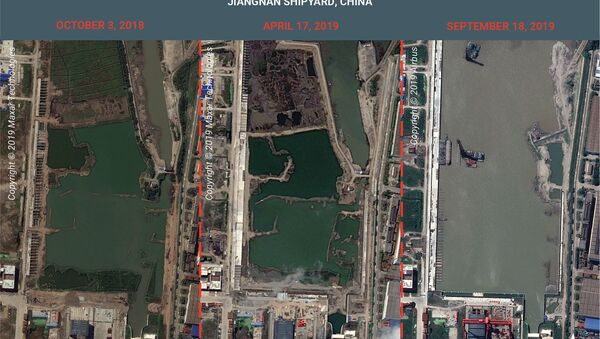 Three satellite photos showing excavation of the new ship basin at Jiangnan Shipyard, Shanghai - Sputnik International