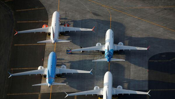 FILE PHOTO: An aerial photo shows Boeing 737 MAX aircraft at Boeing facilities at the Grant County International Airport in Moses Lake, Washington, September 16, 2019 - Sputnik International