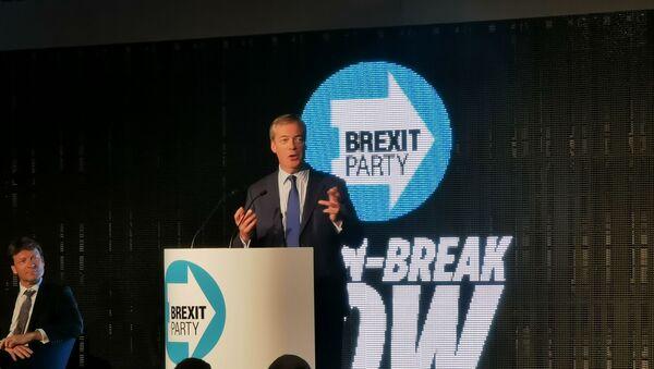 Nigel Farage at the Brexit Party rally - Sputnik International