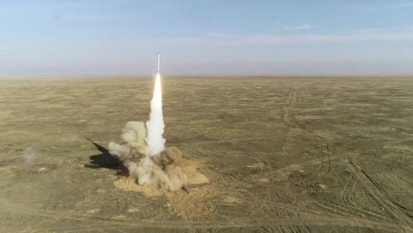 In this handout video grab released by the Russian Defence Ministry, Iskander mobile tactical ballistic missile system fires a cruise missile during the Grom (Thunder) 2019 strategic exercises, in Russia. Editorial use only, no archive, no commercial use - Sputnik International