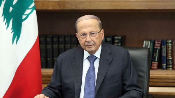 Lebanon's President Michel Aoun is pictured as he addresses the nation at the Baabda palace, Lebanon October 24, 2019 - Sputnik International