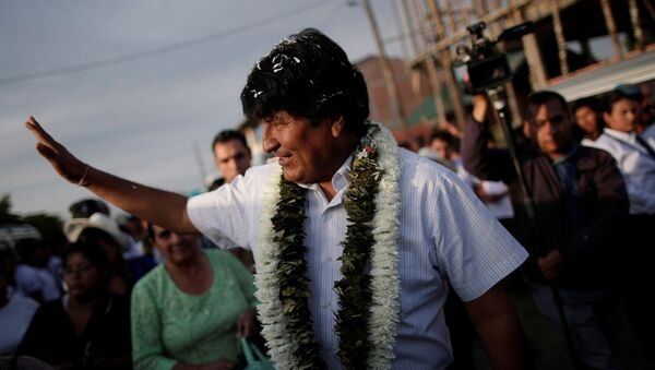 Bolivia's President and presidential candidate Evo Morales of the Movement Toward Socialism (MAS) party is greeted by supporters as he arrives to vote during the presidential election at a polling station in a school in Villa 14 de Septiembre, in the Chapare region, Bolivia, October 20, 2019. - Sputnik International