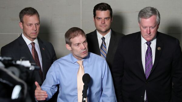 U.S. Representative Jim Jordan (R-OH) leads fellow Republicans, including Rep. Scott Perry (R-PA), Rep. Matt Gaetz (R-FL) and Rep. Mark Meadows (R-NC), as he speaks to reporters outside the House Intelligence Committee offices on Capitol Hill in Washington, U.S. October 8, 2019 - Sputnik International
